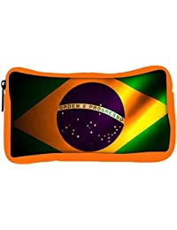 Snoogg Eco Friendly Canvas Brazil Flag Designer Student Pen Pencil Case Coin Purse Pouch Cosmetic Makeup Bag
