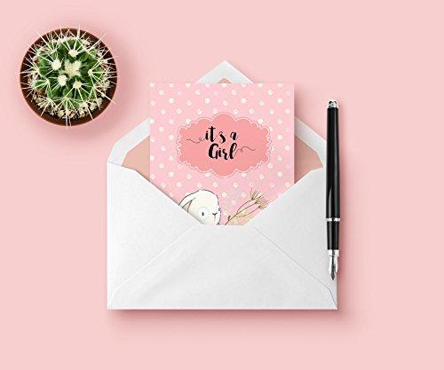 Lunadei Grußkarte mit Umschlag | Ideal für die Ankündigung einer Geburt | Modell für Mädchen mit Satz Es ist ein Mädchen | Einzigartiges Design Signiert Hochwertiger Karton (350 g / m2) | Format A6 -