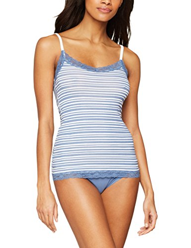 Iris & lilly canotta in cotone body natural donna, pacco da 2, multicolore (painted strip print/moon light blue), large
