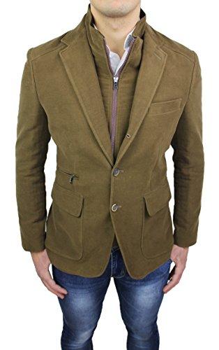 Cappotto giacca uomo Alessandro Gilles sartoriale beige cammello casual elegante invernale con gilet interno (L)