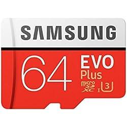 Samsung EVO Plus Grade 3, Class 10 64GB MicroSDXC 100 MB/S Memory Card with SD Adapter (MB-MC64GA/IN)