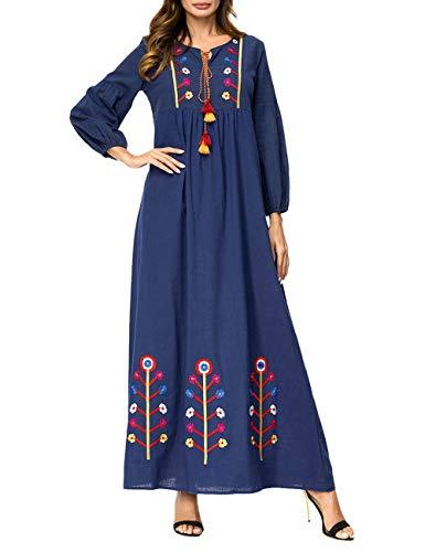 BESBOMIG Suelto Casual Abaya Mujer Musulmana Dubai Elegante - Cómodo Bordado Cintura Alta Caftán Kaftan Marroquí para Mujeres