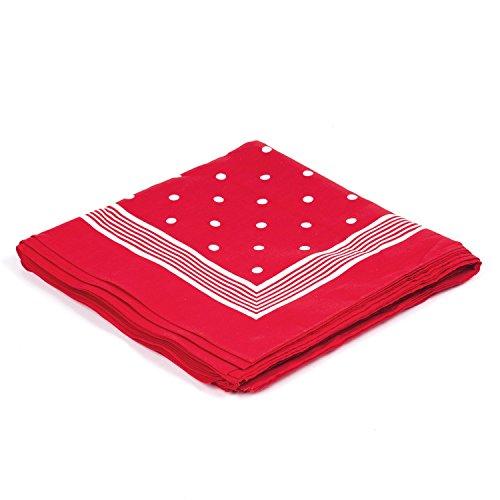 Bandana Halstuch Rot / Zimmermanntücher Rot / Richtfeststücher Rot aus 100% Baumwolle 54x54cm - Kopftuch Rot Weisses Tuch Dreiecktuch Nickituch
