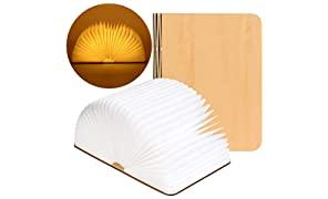 LED Buchlampe faltbar, UMICKOO leuchtbuch, Buchform Holz-Nachtlicht, 2500mAh Wiederaufladbare Nachttischlampe, Tischlampe, dekorative Lampen Ölgemälde Papier + Holzabdeckung Warm Weiß Licht (Große)