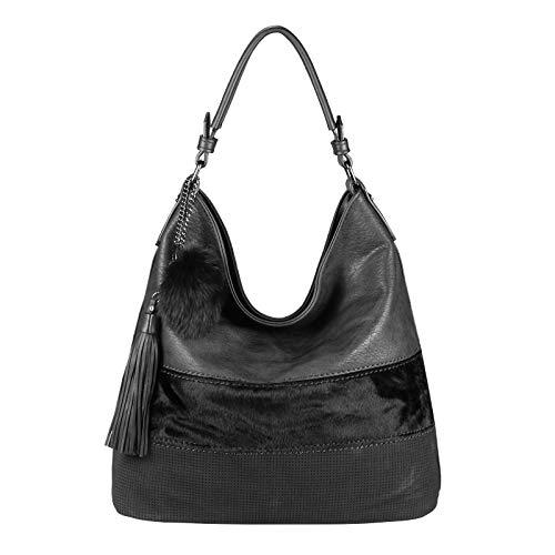 OBC Damen Tasche Shopper Bowling Hobo-Bag Leder Optik Handtasche Umhängetasche Schultertasche Beuteltasche Reisetasche Pelztasche (Schwarz 35x34x17 cm)