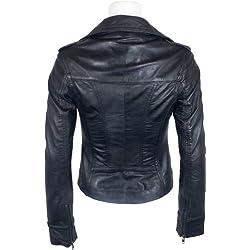 UNICORN Mujeres Genuino real cuero chaqueta Negro encerado #Z6 (50)