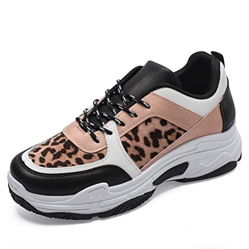 Zapatillas de Deporte para Mujer Zapatos con Estampado de Leopardo Gimnasio al Aire Libre Running Athletic Suela Gruesa Zapatos con Cordones Zapatillas Gruesas