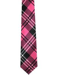 Men's Tartan Pink and Black Skinny Tie (Tie69)- Skinny Tie