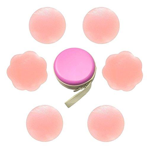 Tuopuda® Nippel-Abdeckung Silikon Brustwarzenabdeckung Brust Aufkleber Silikon-Gel Brustwarzenabdeckung selbstklebend und wiederverwendbar Nippel Cover Pads (3 Paare) -