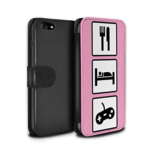 Stuff4 Coque/Etui/Housse Cuir PU Case/Cover pour Apple iPhone 7 / Merde/Rose Design / Manger/Sommeil Collection Jeu/Jeux/Rose