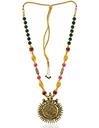 Geode Delight Sun Design Brass Pendant With Beads Strand Necklace For Women