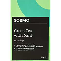 Amazon Marke - Solimo - Grüner Tee mit Pfefferminze - 40 Aufgussbeutel x6