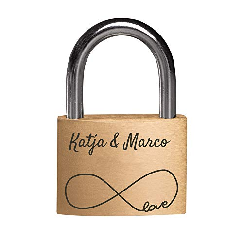 Personello® Graviertes Liebesschloss mit eigenem Namen und Datum - Schloss mit Unendlichkeitszeichen, gold, Premium Qualität -