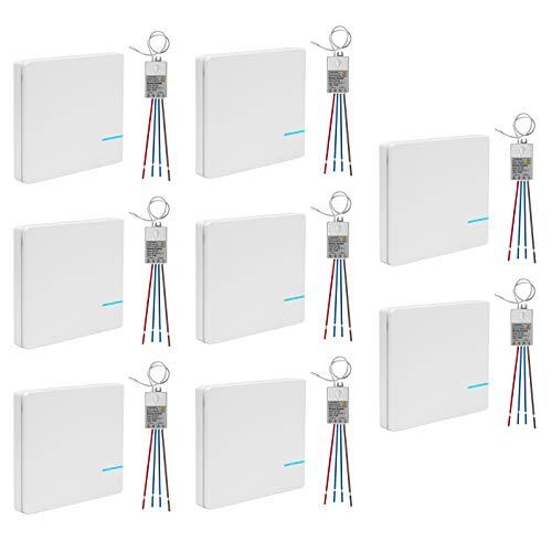 Set de 8 interruptores de luz inalámbricos con receptor, interruptor de pared,...