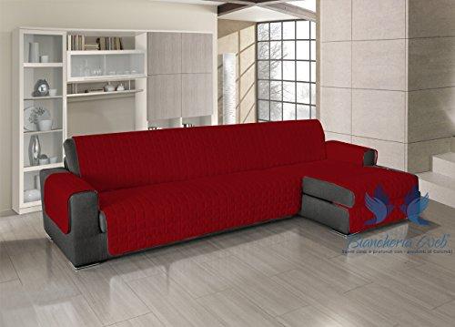 Copridivano trapuntato per divani con penisola in tinta unita 240-245 cm rosso