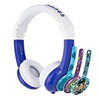 ONANOFF BP-EX-FD-BLUE-01-K BuddyPhones - Explore Foldable Volume Limiting Headphones for Kids - Durable, Comfortable, Built in Headphone Splitter and In Line Mic (Blue)