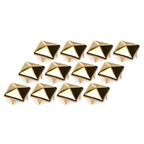 4sold (TM) 100 piezas 4 or 2 Puntas Pirámide Espárragos Oro y plata 10mm oro Ideal para Any Leathercraft Proyecto, Como Velts, Bolsos, Pulseras, Chaquetas - Dorado 9mm, Universal