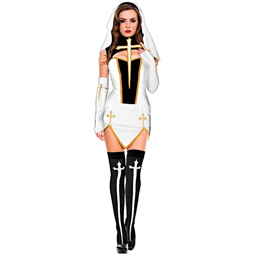 Kostüm Muster Nonne - LNC-QQNY Sexy Dessous Halloween Nonne Kostüm Adult Dance Kostüm Grenzüberschreitende Amazon Explosive New Role Playing (Color : 86168-White, Size : Einheitsgröße)