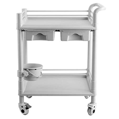 Medizinischer Wagen ABS-Gerätewagen für medizinische Geräte mit Schubladen und Schmutzkübel, 2/3 Tier Beauty Salon-Wagen mit Rädern, 100 kg Tragkraft (größe : 2 Tier)