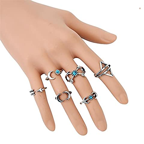 Poshzone®6PCS Fashion Vintage Silver Turkish Beach Punk Arrow Moon Turquoise Joint Knuckle Nail Midi Ring Set