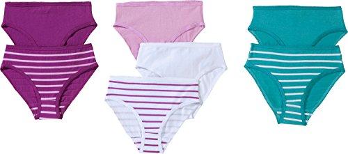 Kinderbutt Slip 7er-Pack Single-Jersey gestrickter Ringel lila/smaragd Größe 170/176