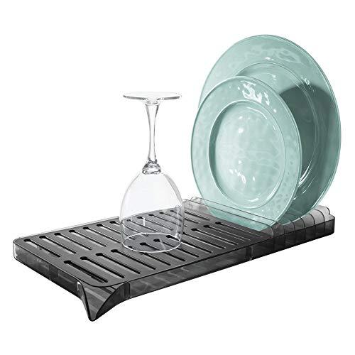 iDesign Austin Escurridor de vajilla de Dos Piezas, escurreplatos con Bandeja de plástico para Fregadero o encimera, Negro Mate y Gris Oscuro, Metal, 42.7 Cm X 20.3 Cm X 5.5 Cm