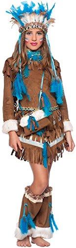 Indian Apache Kostüm - Chiber - Deluxe Indian Squaw Kinder Kostüm (Größe 9)