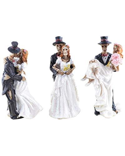 Brautpaar Figuren 3er Set als Geschenk für Gothic Fans & als Halloween Deko ()