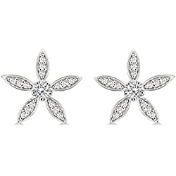 Silver Dew CZ Diamond Rhodium Plated On Pure 925 Sterling Silver Stud Flower Women Girls Earring