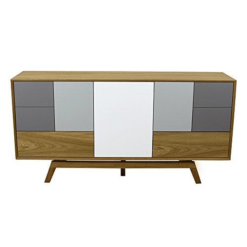 Style Schrank Eiche (Skandinavischer Stil Seite Board Schrank in Eiche oder Walnuss mit Wahl der Farben. Handmade in Großbritannien. Light Grey and Mid Grey)