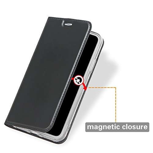 xhorizon [Magnetverschluss] [Kreditkartensteckplätze] [TPU Bumper] Umklappbare Folio Dünne Brieftasche Handyhülle Stoßabsorbierende Kreditkarten Brieftasche Handyhülle mit Seitenständer für iPhone X / Grau