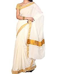 K S Collection Women's Kerala Kasavu Cotton Saree (KSC-004_Off-White_Free Size)