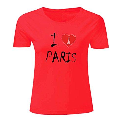 Art T-shirt, Maglietta I Love Paris, Donna Rosso