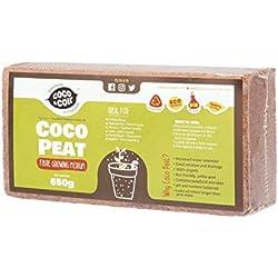 650g (9L) Fibre de coco pressé   Sans tourbe   100% pure   Substrat de noix de coco pour terrarium   Terre de coco pour Fleurs   Terreau pour fruits, légumes   Aucun additif de fertilisant
