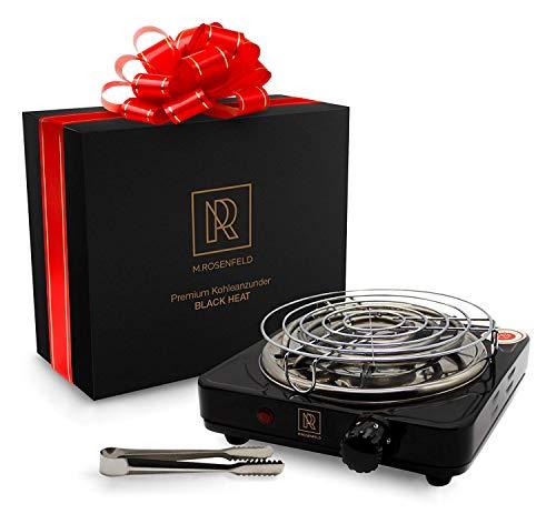 M. ROSENFELD Premium Shisha Kohleanzünder für Shisha Kohle Black Heat (1000W | Anzünder Elektrisch | Schwarz) + Gitter + Zange aus Edelstahl + Langes 140 cm Kabel (Schwarz Glanz)