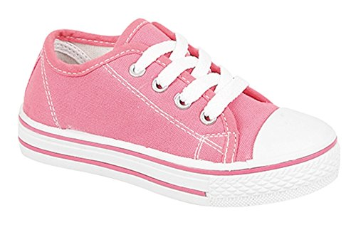 Lora Dora Boys Girls Kids Flat Lace Up Canvas Pumps Plimsoles Trainers Womens Childrens Sports Shoes UK Infant 9 Hot Pink
