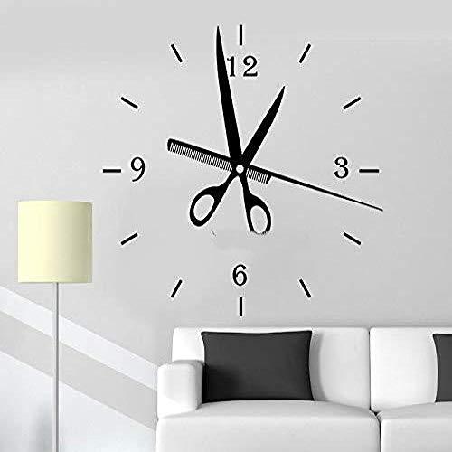 ljmljm Individualisierbar Schere Kamm Uhr Muster Kreativ Geschnitzt Friseur Schaufenster Dekoration Aufkleber Braun 42x43cm