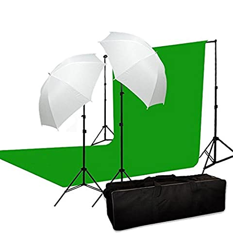 BPS Green Backdrop 1250W Continuous Light Kit 3m*6m Green (10ft*20ft) 100% Cotton Muslin Backdrop + 2.8m x 3m Adjustable Background Support Stand + 2 x 625w light bulb+ 2 x Umbrellas + Carry bag - Photo Studio Light Background