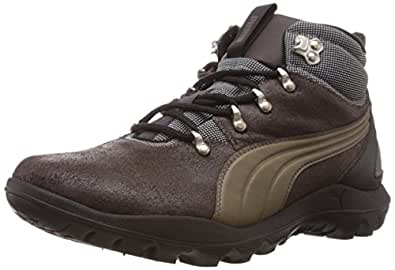 Puma Men's Silicis Mid DP Black-Bracken Brown Leather Running Shoes - 7 UK/India (40.5 EU)