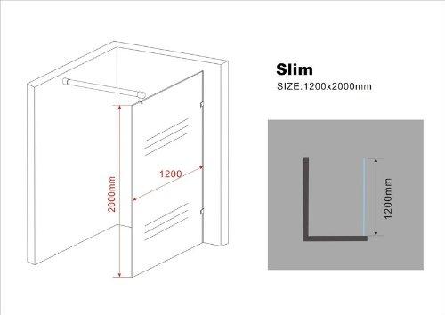 10 mm Duschwand SLIM 120 x 200 cm -