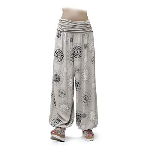 Glamexx24 Damen XXL Leichte Pumphose Haremshose Freizeithose Sommerhose Hose mit vielen Muster 13090, Beige 2, XL/XXXL