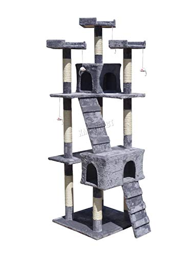 FoxHunter Deluxe Multi Level Cat Scratcher Cat Tree Activity Centre Scratching Post Climbing Sisal Toys 608 Grey Faux Fur 55cm x 55cm x 180cm Height