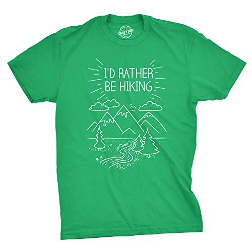 2339535d Crazy Dog Tshirts - Mens I'D Rather Be Hiking Funny Summer Nature Camping T
