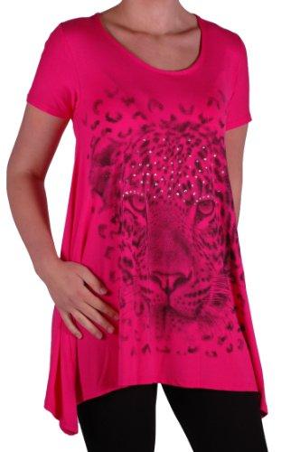 EyeCatch Plus - T shirt manches courtes drapé tigre brillant - Femme - Tailles UK14/28 Fuschia