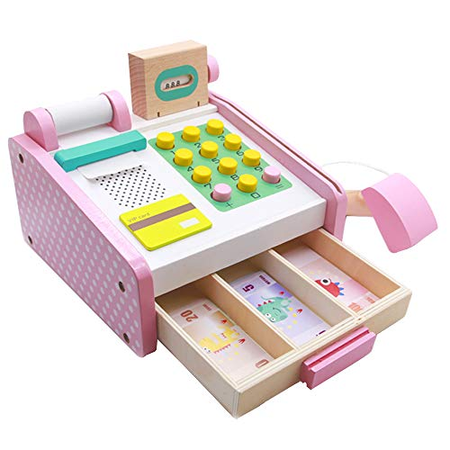 Nuheby Wooden Toy Till Kids Cash Register with Money Credit Card Wooden Toys Educational Role Play Toys for Kids Boys Girls Gift 3 4 5 6 Year Old