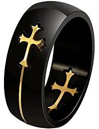 BOBIJOO Jewelry - Bague Alliance Noire Croix Doré Acier Inoxydable Templier Chevalier Latine Homme