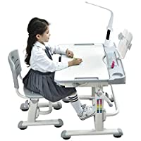 Height Adjustable Kids Desk Chair with LED Lamp Bookstand Ergonomic Children Table and Chair - Sprite with Lamp (Grey) - 2 Year Warranty