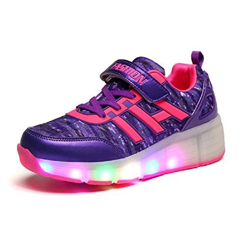 Unisex Kinder LED Rollschuh Schuhe mit Rädern Jungen Mädchen Mode Skateboard Schuhe LED Licht Blinkt Outdoor-Sportarten Gymnastik Sneakers (Skateboards Licht Rädern)