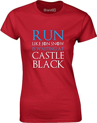 Brand88 - Run Like Jon Snow is Waiting at..., Gedruckt Frauen T-Shirt Rote/Weiß