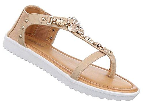 Damen Sandalen Schuhe Dianetten Nieten Besetzte Zehentrenner Schwarz Beige Rosa Weiss 36 37 38 39 40 41 Beige